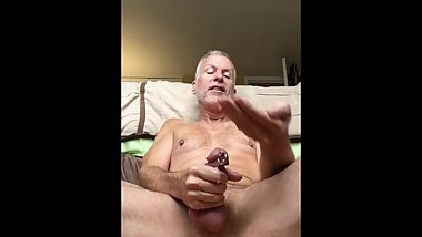 stroking my cock, eating the reward