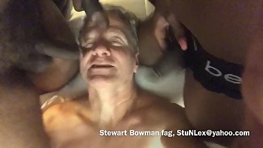 Stewart Bowman face fucked by 3 big black cocks!