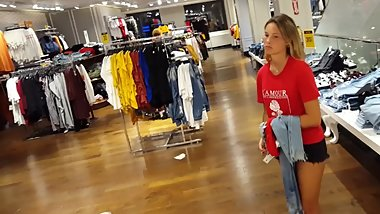 Candid voyeur hot teen shopping mall blonde shorts