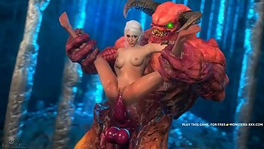 Ugly heavy monsta fucks girl in standing pose, from witcher porn parody #2