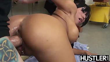 Busty Asian schoolgirl Gaia smashed before janitors facial