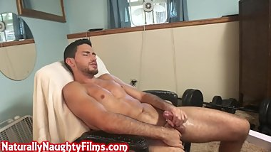 Handsome Fit Young Guy Strokes His Throbbing Dick Until He Cums On Himself