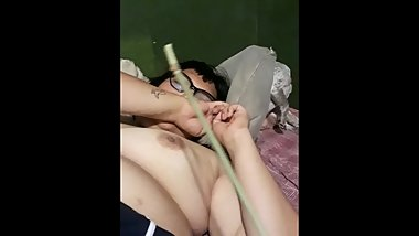 Fat Slut gets punished by daddy, whipped with bamboo stick