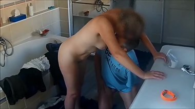 My wife fucked in the bathroom on real hidden cam 5