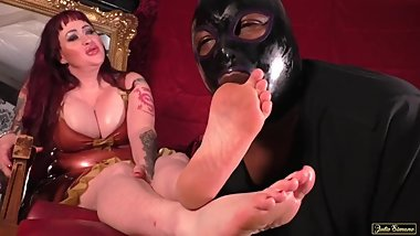 Femdom Foot Worship in Latex Mistress Julie Simone Busty Redhead Dominatrix