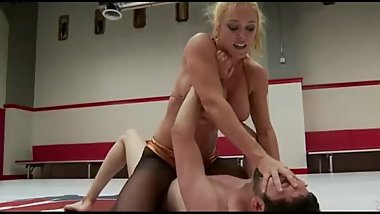 Blonde milf dominates guy in hot sexfight