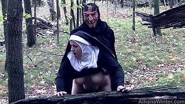 Demon Fucks and Seeds Blaspemous Smoking Nun - Front Angle Halloween Treat