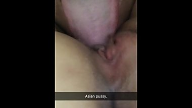 Eating young tiny asian pussy wife closeup