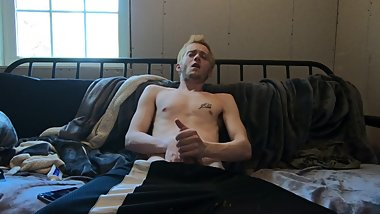 Hot Blonde Teenage Jock jerking his BIG COCK in COLLEGE DORM