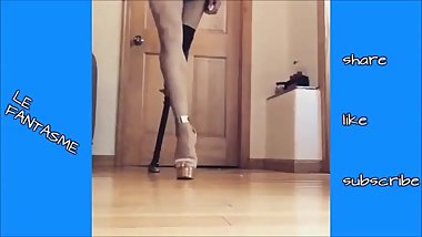 Beautiful amputee modeling her pegleg and high heel