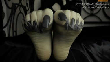 M - Long Black Toenails In Sexy Sheer Pantyhose
