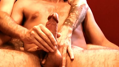 Helping Hands. Massive veiny cock gets milked and edged by tatted dude.