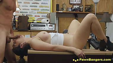 Busty French Girl Blows & Bangs Big American Fuck Rod In Pawn Shop