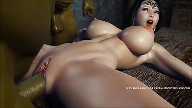 AMAZING 3D OUTDOOR FUCK FEATURING GREEN ORC AND AMAZING ASIAN №2