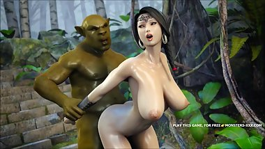 AMAZING 3D OUTDOOR FUCK FEATURING GREEN ORC AND AMAZING ASIAN TITTY №1