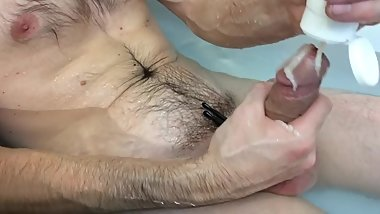 Fun with penis pump, saliva, lube and edging in the tub!