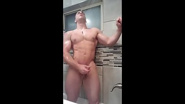 Colin taking a shower