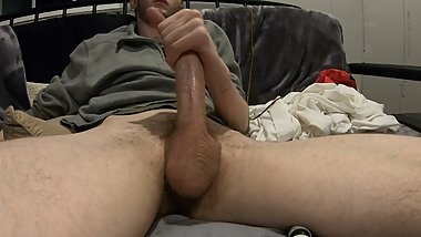 Gay Boy Flint Wolf jerking off and cumming close up on the cam