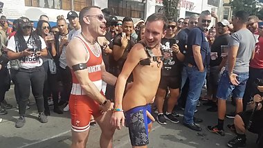 2 hot guys fucking, rimming in the street at Folsom 2018 in San Francisco