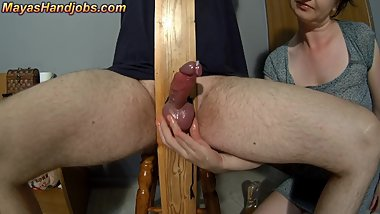 rock hard cock in pillory cumming twice