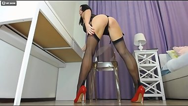 Caroline - Big Ass and Long Legs Teasing on Stockings [LiveJasmin Babes]