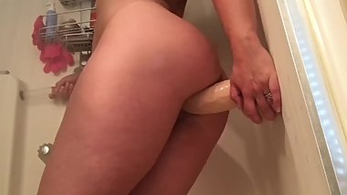 Big clit Hotwife  Secretly fucking myself in the shower for my husband